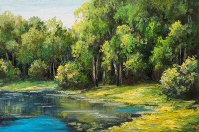 Quadro Óleo, quadro, paisagem, lago, floresta, verão, Dia