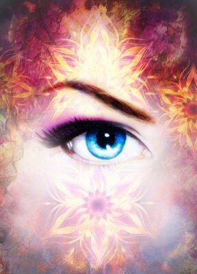 Quadro Olho e mandala da mulher, fundo abstrato da cor e crackle do deserto.