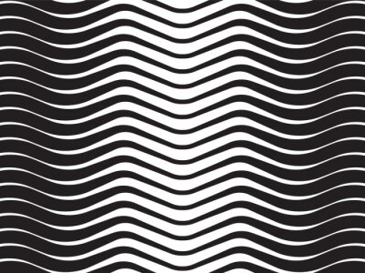 Quadro onda óptica listrada abstrata fundo preto e branco