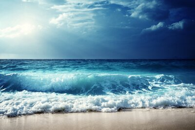 Quadro Ondas na praia das Seychelles