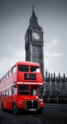 Quadro Ônibus de Londres e Big Ben