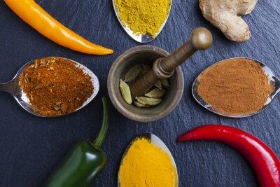 Quadro Oriental, indianas, temperos, curry, paprika, noz-moscada, ardósia