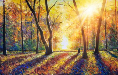 Quadro Original hand painted autumn oil painting on canvas. Sunny autumn dark trees in gold autumn forest park wood alley impressionism art