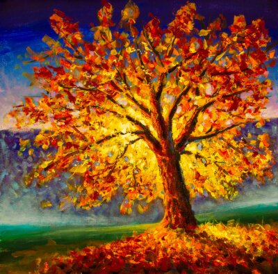 Quadro Original oil painting on canvas art. Sunny autumn tree. Modern impressionism. Autumn gold yellow orange red tree in sun light landscape expressionism artwork oil acrylic painting