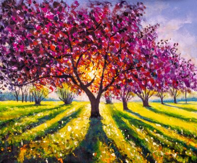 Quadro Original oil painting sunny landscape on canvas. Beautiful early spring, spring landscape. Modern impressionism painting.