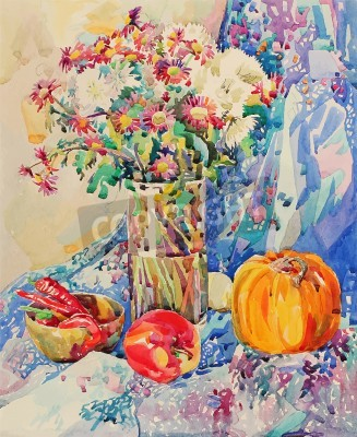 Quadro original watercolor still life with flowers, pumpkin, apple, drapery and hot pepper, impressionistic painting, vector illustration