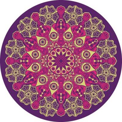 Quadro ornamental padrão de renda rodada, círculo com muitos det