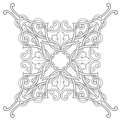 Quadro Ornamento barroco do ornamento da gravura do vinta