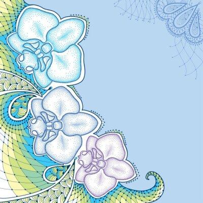 Quadro Orquídea ou Phalaenopsis pontilhado da traça com laço decorativo em cores pastel no fundo azul. Elementos florais no estilo do pontowork.