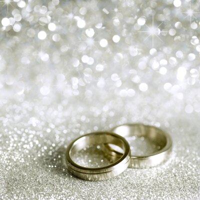 Quadro Os anéis de casamento e estrelas em prata