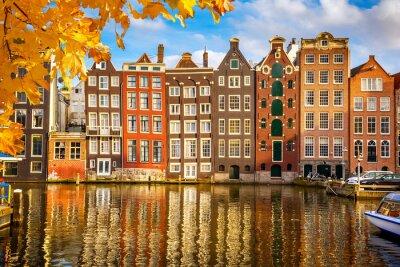 Quadro Os edifícios antigos em Amsterdã