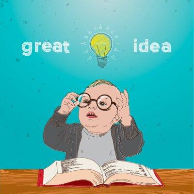 Quadro Ótima idéia, criança com o livro ea lâmpada acima da cabeça