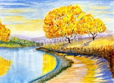 Quadro Outono, campo, hand-drawn, watercolor, Ilustração, papel, textura