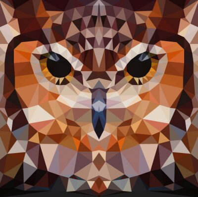 Quadro Owl cabeça vector fundo geométrico ilustração
