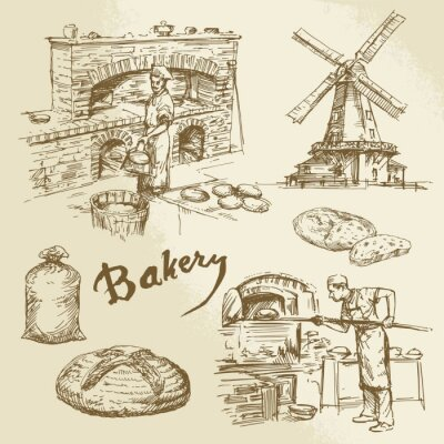 Quadro padeiro, padaria, pão