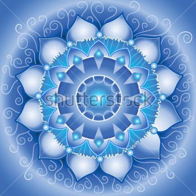 Quadro padrão azul padrão, mandala do vetor de chakra vishuddha
