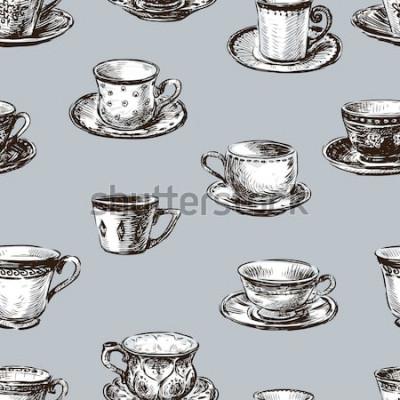Quadro padrão das xícaras de chá