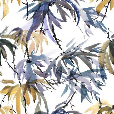 Quadro Padrão de aguarela foliar