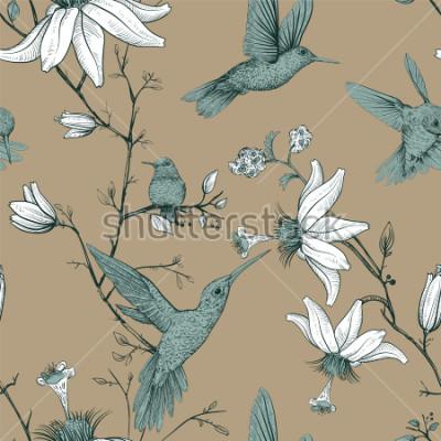 Quadro Padrão de desenho de vetor com pássaros e flores. Antigo padrão sem emenda com flores desenhadas. Papel de parede floral provence. Design para web, papel de embrulho, capa, têxtil, tecido, papel de pa
