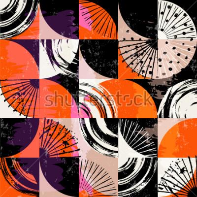 Quadro Padrão de fundo abstrato, com círculos, pontos, quadrados, derrames e salpicos