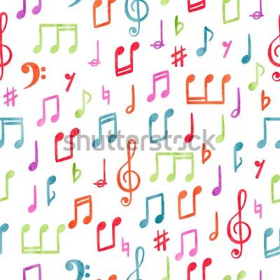 Quadro Padrão de notas musicais sem costura colorida. Fundo musical em aquarela