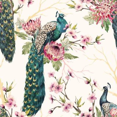 Quadro Padrão de pavão aquarela