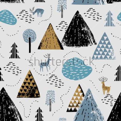 Quadro Padrão sem alteração com uma paisagem de montanha, chuva e floresta. Perfeito para cartões, convites, papel de parede, banners, jardim de infância, chá de bebê, decoração do quarto de crianças. Paisag