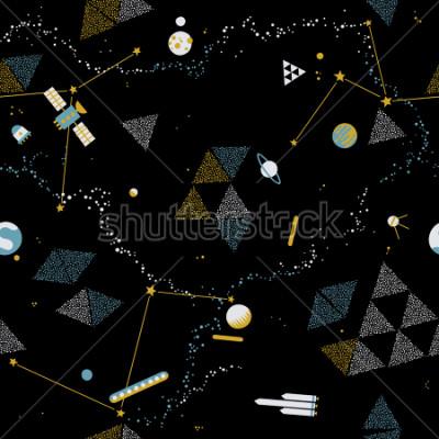 Quadro Padrão sem alteração de bebê - espaço, naves espaciais e planetas com estrelas. Crianças na moda vector fundo.