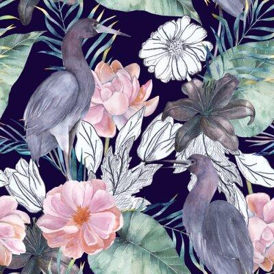 Quadro Padrão sem costura de aquarela com elementos de tinta. Pássaros e flores exóticas. Ilustração desenhada mão