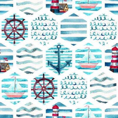Quadro Padrão sem costura de aventura aquarela em estilo marinho patchwork.