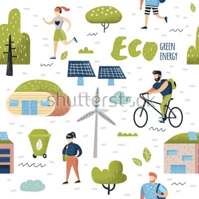 Quadro Padrão sem emenda com a cidade verde. Conservação ambiental. Eco City Future Technologies para a preservação do planeta. Fundo de ecologia de energia alternativa. Ilustração vetorial