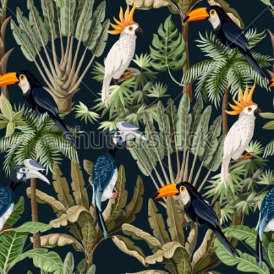 Quadro Padrão sem emenda com árvores exóticas e aves selvagens, papagaios e tucanos.