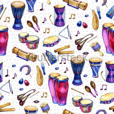 Quadro Padrão sem emenda com bateria em estilo aquarela sobre fundo branco. Instrumentos musicais de percussão. Projeto colorido para festa retrô no estilo de memphis. ilustração