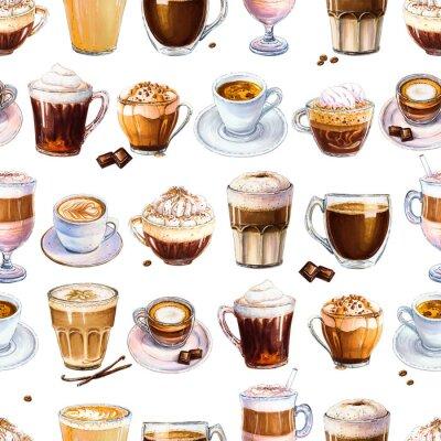 Quadro Padrão sem emenda com café diferente bebe em fundo branco. Ilustração de café expresso, café com leite e americano, cappuccino e outro café saboroso. Desenhado à mão por marcadores, aquarela.