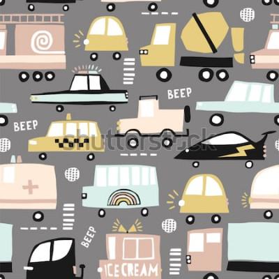 Quadro Padrão sem emenda com carros fofos. Carros dos desenhos animados, escotilhas de estrada, ilustração vetorial de passadeira Perfeito para crianças tecido, têxtil, papel de parede do berçário. Ilustraçã