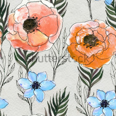 Quadro Padrão sem emenda com flores coloridas
