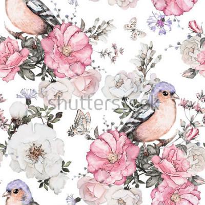 Quadro Padrão sem emenda com flores cor de rosa, pássaro - passarinho e folhas no fundo branco, aquarela padrão floral, flor rosa em cor pastel, telha para papel de parede, cartão vintage ou tecido