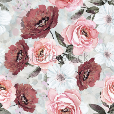 Quadro Padrão sem emenda com flores e folhas. Fundo floral para papel de parede, papel e tecido. Pintura da aguarela com as rosas cor-de-rosa e de Borgonha.