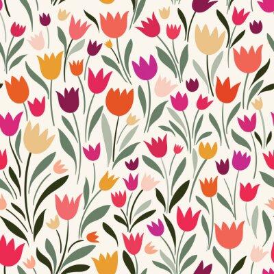 Quadro Padrão sem emenda com mão desenhadas tulipas