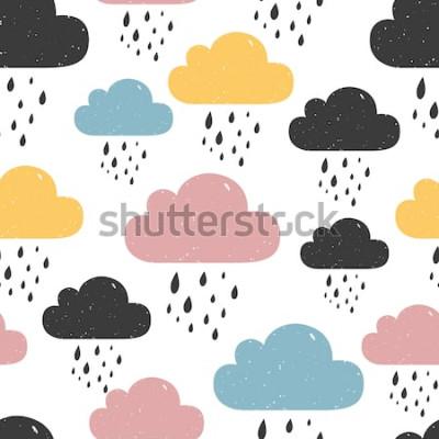 Quadro Padrão sem emenda com nuvens chuvosas coloridas. Ilustração vetorial