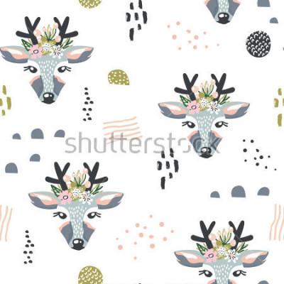 Quadro Padrão sem emenda com os veados, elementos florais, ramos. Fundo da floresta criativo. Perfeito para vestuário de criança, tecido, têxtil, decoração de berçário, papel de embrulho.