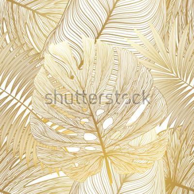 Quadro Padrão sem emenda com palm de folha tropical. Ilustração vetorial