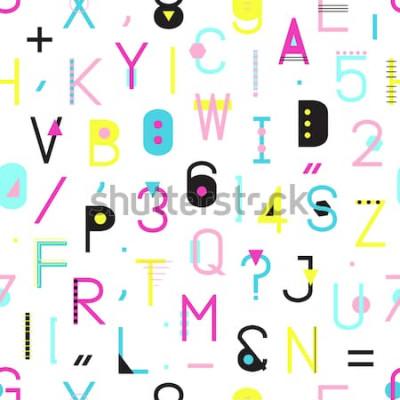 Quadro Padrão sem emenda de alfabeto colorido com números e pontuação de formas geométricas, isoladas no fundo branco. Tipografia criativa textura de embrulho no estilo de Memphis. Ilustração abstrata hipste