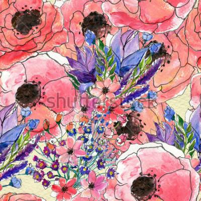 Quadro Padrão sem emenda de aquarela floral
