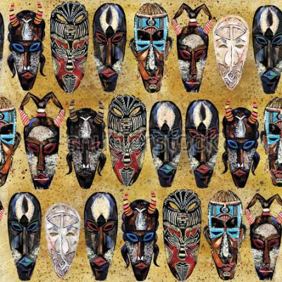 Quadro padrão sem emenda de máscara africana. mão desenhada fundo étnico totem tribal