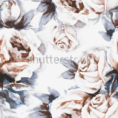 Quadro Padrão sem emenda de rosas. Ilustração de aquarela.