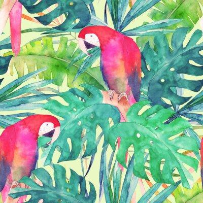 Quadro Padrão sem emenda de verão com papagaio de aquarela, folhas de palmeira. Ilustração colorida