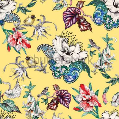 Quadro Padrão sem emenda desenhada de mão em aquarela com flores de verão tropical e aves exóticas em fundo amarelo