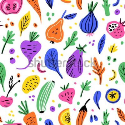Quadro Padrão sem emenda desenhada de mão plana de frutas e legumes. Textura dos desenhos animados de nutrição saudável. Ilustrações escandinavas de alimentos orgânicos. Cliparts de cor de esboço de dieta. T
