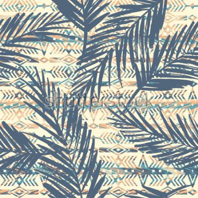 Quadro Padrão sem emenda étnica tribal com folhas de palmeira. Fundo do vetor